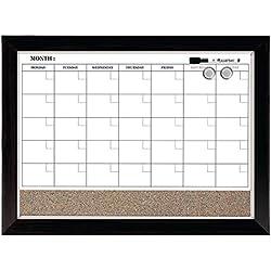 "Quartet Dry Erase Calendar Board, Planner, Magnetic, Combo White Board & Cork Board, 17"" x 23"", Wood Finish Frame (22476)"