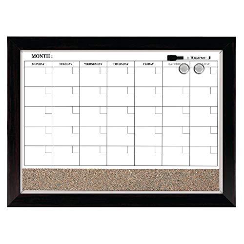 Quartet Dry Erase Calendar Board, Planner, Magnetic, Combo White Board & Cork Board, 17