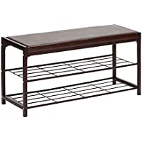STORAGE MANIAC 2-Tier Shoe Rack Bench with Faux Leather Seat, Entryway Shoe Storage, Hallway Bench