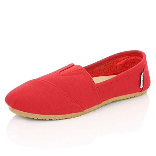 DailyShoes Women's Women Classic Flat Slip-On Comfort Loafer Sneaker Shoes with Raised Massage Surface Elastic Top Flats Shoe, Red Linen, 6.5 B(M) US