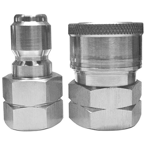 Ultimate Washer 3/8″ Quick Connect Pressure Washer Male and Female Hose Adapter Set (1), Max Pressure 5000 PSI Rating, Stainless Steel