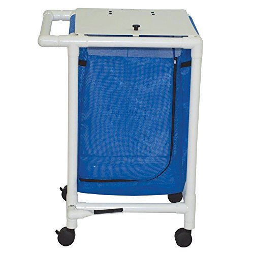 MJM International 218-S-FP Jumbo Double Hamper with Foot Pedal, 25.71 oz Capacity, Royal Blue/Forest Green/Mauve