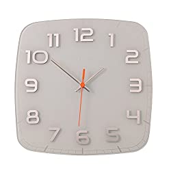 Unek Goods NeXtime Classy, Square Wall Clock, Decorative, Big Numbers, Glass, Battery Operated, Shiny Numbers, White