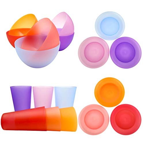 Plastic Dinnerware Unbreakable Plastic Tumblers, Bowls & Plates Dinnerware Set | Set of 18 in 6 Assorted Color | Dishwasher safe, BPA Free ()