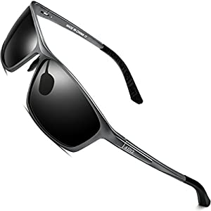 ATTCL Men's Al Mg Metal Frame Polarized Driving Fishing Golf Sunglasses For Men 16520 gray