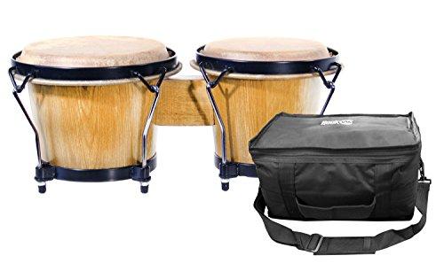 RockJam 100300 7″ & 8″ Bongo Drum Set with Padded Bag, Natural