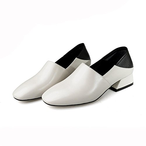 Perezoso Cuero Comodidad Trabajo Áspero Zapatos Hecho Tacón Caminar Negro Mano Blanco Fornido Soltero Para Ponerse Mujer Bajo A Casual 8xTdIqvv
