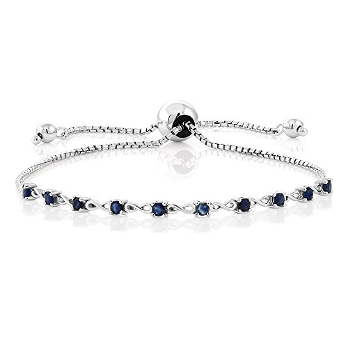 0.50 ct Blue Sapphire Gemstone Birthstone 925 Sterling Silver Fully Adjustable Tennis Infinity Bracelet Fits Up To 9