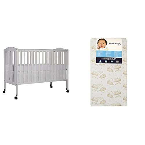 Dream On Me Folding Crib (Dream On Me Full Size 2 in 1 Folding Stationary Side Crib with Dream On Me Spring Crib and Toddler Bed Mattress, Twilight)