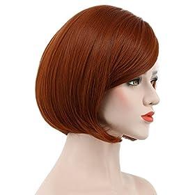- 41IzdMLlitL - Karlery Women's Short Bob Straight Dark Orange Wig Halloween Cosplay Wig Anime Costume Party Wig