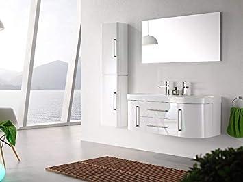 Ensemble salle de bain double vasque blanc laqué 120 cm - MIA BLANC - 1  colonne - Meuble sous vasque