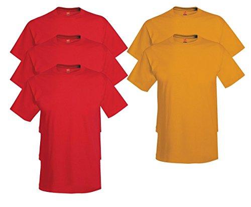 Hanes Comfort Soft Crew-Neck T-Shirt (Pack of 5), 3 Deep Red/2 Gold, 2XL