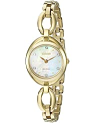 Citizen Womens Eco-Drive Stainless Steel Crystal Accented Watch, EX1432-51D