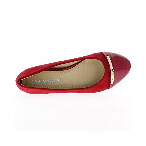 Ballerines compensées rouge à talons de 4cm