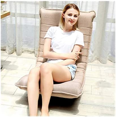 KEHUITONG レイジーソファーシングル椅子畳、折り畳み式の回転小さなアパートファブリックレジャー・ムーンチェアバルコニーのベッドリクライニングウォッシャブル、ブルー、レッド、ダークコーヒー、カーキ 耐久性、快適、色あせなし (Color : Khaki)