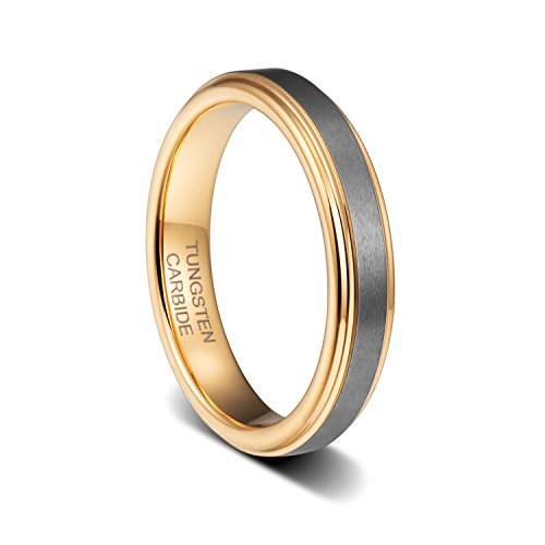 TUSEN JEWELRY 4mm Womens Fashion Rings 18K Gold Plated Tungsten Ring Comfort Fit