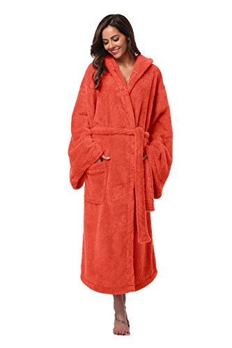 Vogue Bridal Unisex Soft Plush Coral Fleece Robe Plus Long Hooded Spa Bathrobe, Orange L/XL -