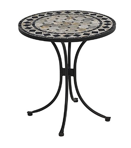 Stone Mosaic Tops - Bistro Table Stone/Concrete 27.5'' Mosaic Design Round Top Outdoor Patio Garden Furniture
