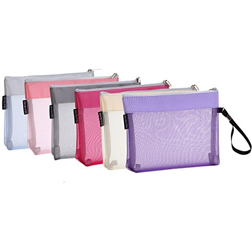 Sea Team 6pcs Multicolored Portable Travel Toiletry Pouch Nylon Mesh Cosmetic Makeup Organizer Bag with Zipper (ST-CB0616)