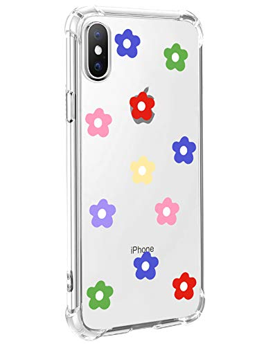 MAYCARI Daisy Floral Flower Pattern Printed Clear Design Phone Case for iPhone 7/iPhone 8, Shockproof Hard PC Back + Soft TPU Bumper Scratch-Resistant Cover for Girls Women ()