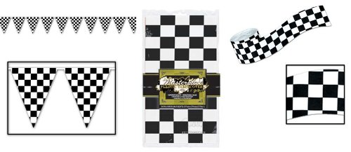 Checkered Flag Racing Set (Checkered Flag RACING PARTY Decoration Set/RACE CAR FLAG Tablecloth/Streamers/PENNANTS/Decor/NASCAR/INDY RACE EVENT)