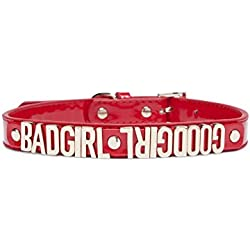 Lazybonezz Good Girl / Bad Girl Dog Collar Red Extra Small