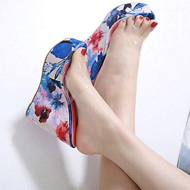 LvYuan Mujer-Tacón Cuña-Confort Innovador Talón Descubierto Zapatos del club-Sandalias-Oficina y Trabajo Vestido Fiesta y Noche-PVC-Azul Naranja Blue