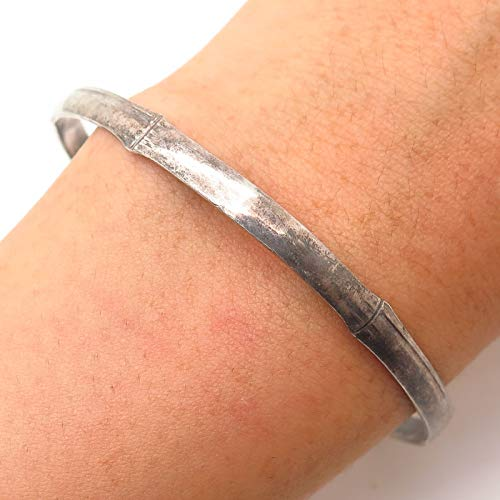 (Vintage 925 Sterling Silver Bamboo Design Bangle Bracelet 7 3/4