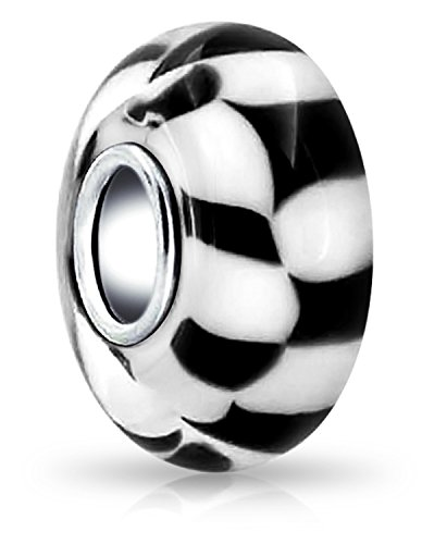 (Black White Checkerboard Murano Glass 925 Sterling Silver Spacer Bead Fits European Charm Bracelet For Women For Teen)