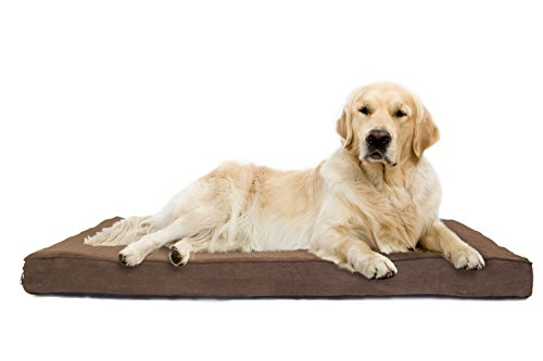 FurHaven Pet Dog Bed   Deluxe Orthopedic Terry & Suede Snuggle Mattress Pet Bed for Dogs & Cats, Espresso, Jumbo