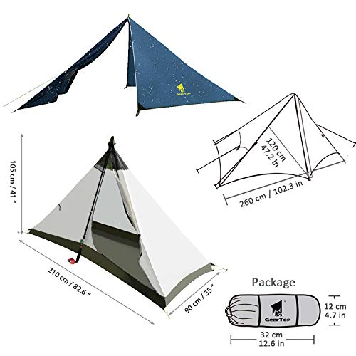 GEERTOP Lightweight 1 Person 4 Season Tent for Backpacking Waterproof Single Person Camping Tent for Outdoor Travel Hiking Mountaineering – Easy to Set