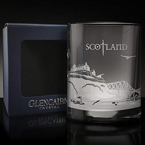 Glencairn SCOTLAND Skyline Glass Etched Whisky Tumbler and Presentation Box 17cl