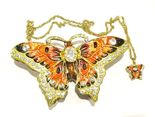 Kingspoint Jeweled Orange, Black, Gold Butterfly Trinket Box w Matching Pendant Necklace
