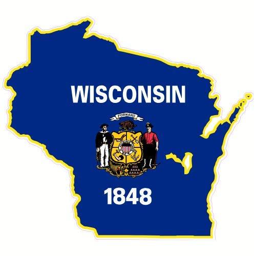 - U.S. Custom Stickers Wisconsin Flag State Shaped Sticker, 4