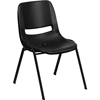 Flash Furniture HERCULES Series 880 lb. Capacity Black Ergonomic Shell Stack Chair