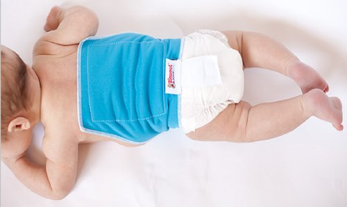 Blowout Blocker Diaper Extension for Disposable Diapers (Blue) - Catch Up the Back Diaper Blowout Leaks! Works with Pampers, Huggies, Luvs, or any other brand. Use with diaper size newborn and up.