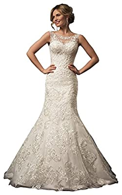 Fenghuavip Bateau Ivory Bridal Wedding Gowns Sleeveless Floor Length