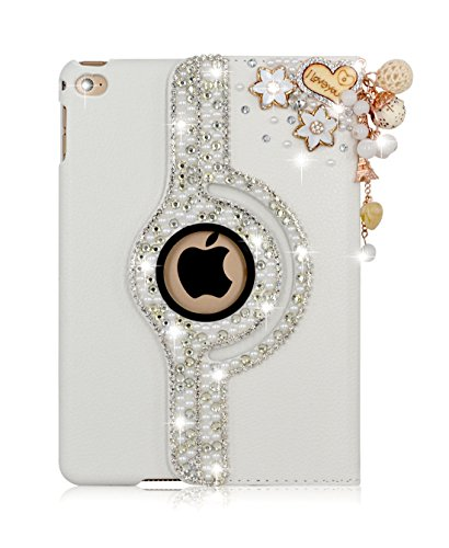Apple iPad Air 2 360 Degree Rotating Handmade DIY 3D Bling Glitter Rhinestones Smart Case Cover Flip – Folio Full Body Protection Smart Leather Cover …
