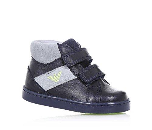 ARMANI - Blauer Schuh aus Leder mit grauen Applikationen aus Spaltleder, mit doppeltem Klettverschluss, seitlich ein Logo, sichtbare Nähte, Jungen