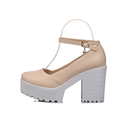 Chunky Heels Urethane Buckles Shoes Beige BalaMasa Pumps Metal Platform Ladies HU5aWwq6