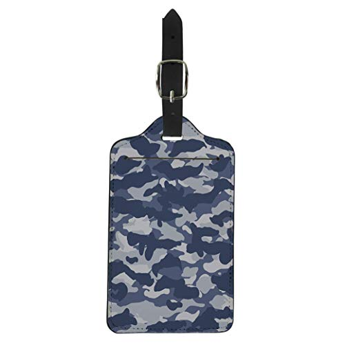 (Pinbeam Luggage Tag Navy Camouflage Wide Urban Blue Camo Pattern Army Suitcase Baggage Label)