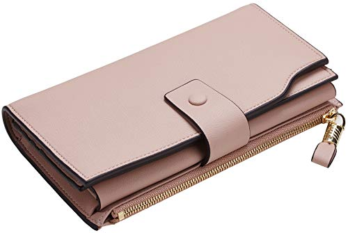 Travelambo Womens RFID Blocking Large Capacity Luxury Waxed Genuine Leather Clutch Wallet Multi Card Organizer 6