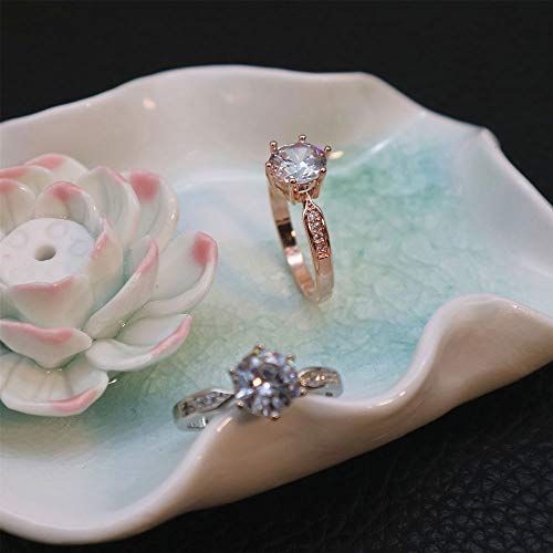 Crystal Rose Gold Six Prong Diamond Ring Wedding Rings,Outsta 2019 Fashion Jewelry Hot Sale!Under 5 Dollars Gifts for Her ()