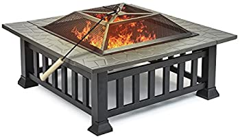 Sorbus Fire Pit Square Table With Screen Cover, Log Grate, Poker Tool, Great Bbq Grill For Outdoor Patio, Backyard, Garden, Camping, Picnic, Bonfire, Attractive Stone Slate (Fire Pit Square Table) 0
