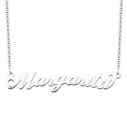 JewelryJo 925 Sterling Silver Personal Name Necklace Semi-Custom Made Customized Personalized Gift for Margarita