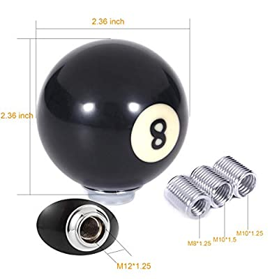 Arenbel 8 Ball Shift Knob Car Gear Stick Shifter Knobs Manual Lever Head fit Most Transmission Automatic Vehicles, Black: Automotive
