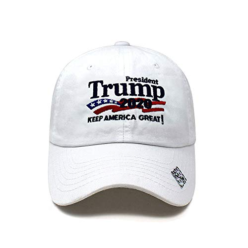 Trump 2020 Keep America Great Campaign Embroidered USA Hat | Baseball Bucket Trucker Cap (Cotton White)