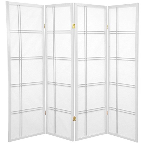 Oriental Furniture 5 ft. Tall Double Cross Shoji Screen - White - 4 Panels