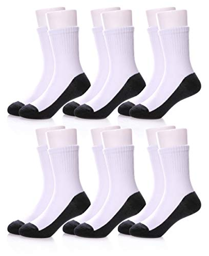 HERHILLY 6 IN 1 SCHOOL SOCKS - Big Boys Girls Classic Athletic Ribbed Crew Cotton Socks for 3-12 Y (9-12 Year Old, 6 Pack White with Black Bottom)