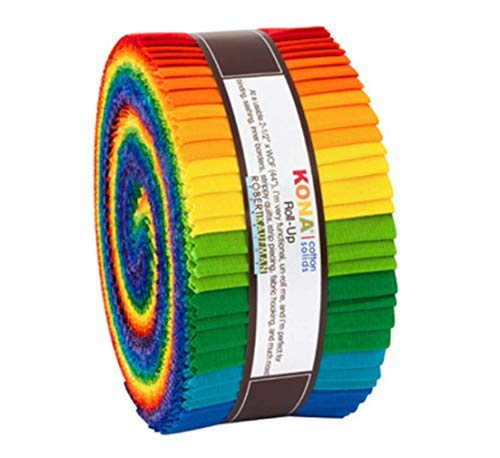 Kona Cotton Bright Rainbow Roll Up 40 2.5-inch Strips Jelly Roll Robert Kaufman -